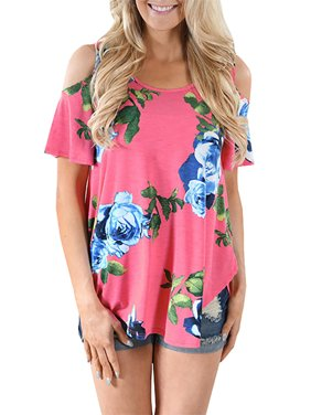 Cold Shoulder Casual Blouse Flower Print Women Shirt