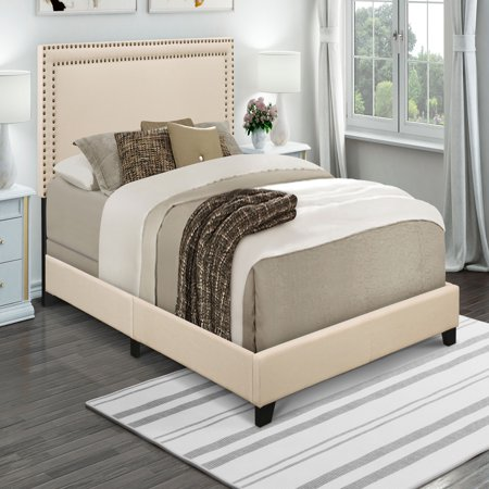 Home Meridian Cream Upholstered Queen Bed With Nail Head Trim