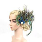 8a7634561330c 1920s Headpiece Peacock Feather Pearl Hair Clip Bridal Wedding Party  Headband