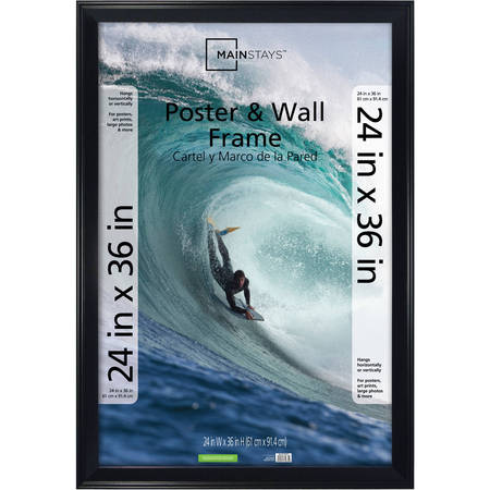 Mainstays 24x36 Casual Poster and Picture Frame, Black (Holiday Photo Frames)