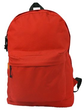 Backpack Classic School Bag Basic Daypack Simple Book Bag 16 Inch Red