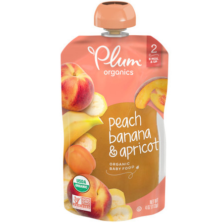 Plum Organics Stage 2, Organic Baby Food, Peach, Banana & Apricot, 4oz Pouch (Pack of 6)