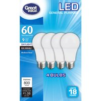 Great Value LED Light Bulbs, 9W (60W Equivalent), Daylight, 4-count