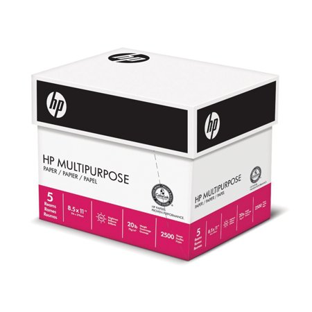HP Paper, Multipurpose Ultra White, 20lb, 8.5 x 11, Letter, 96 Bright, 2,500 Sheets / 5 Ream - Printed Paper
