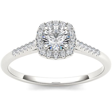 1/2 Carat T.W. Diamond Single Halo 10kt White Gold Engagement