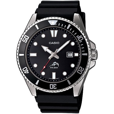Men's Stainless Steel Dive-Style Watch, Black Resin (Planisphere Watch)