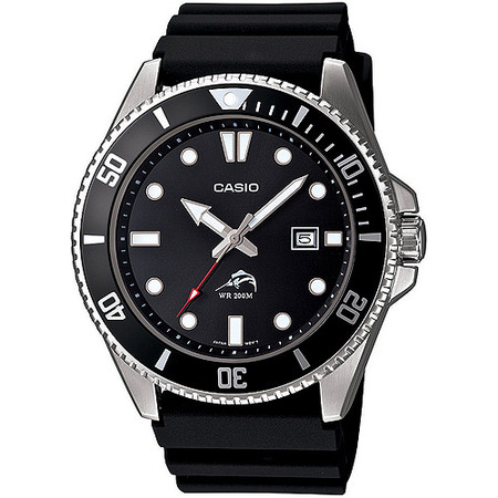 Men's Stainless Steel Dive-Style Watch, Black Resin (Rover Stainless Steel Watch)