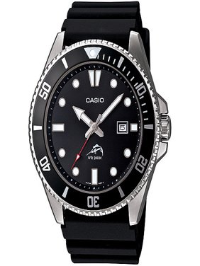 Men's Stainless Steel Dive-Style Watch, Black Resin Strap