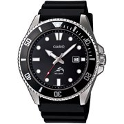 Casio Men's Stainless Steel Dive-Style Watch, Black Resin Strap