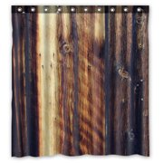 GCKG Rustic Old Barn Wood Art Waterproof Polyester Shower Curtain And Hooks Size 66x72 Inches