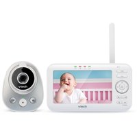 "VTech VM352 5"" Digital Video Baby Monitor with Wide-Angle Lens and Standard Lens, Silver & White"