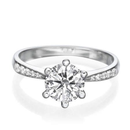 1 1/3 CT Solitaire Diamond Engagement Ring Round Cut Main Stone with Accents H/SI1 (Clarity Enhanced) 14K White Gold ()