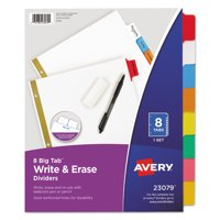 Avery Big Tab Write & Erase Dividers, 8-Tab, Multicolor (23079)