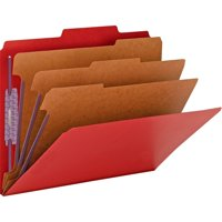 "Smead Pressboard Classification File Folder with SafeSHIELD® Fasteners, 3 Dividers, 3"" Expansion, Letter Size, Bright Red, 10 each per Box (14095)"