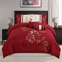 Chezmoi Collection Miranda 7-Piece Floral Hibiscus Embroidered Comforter Set