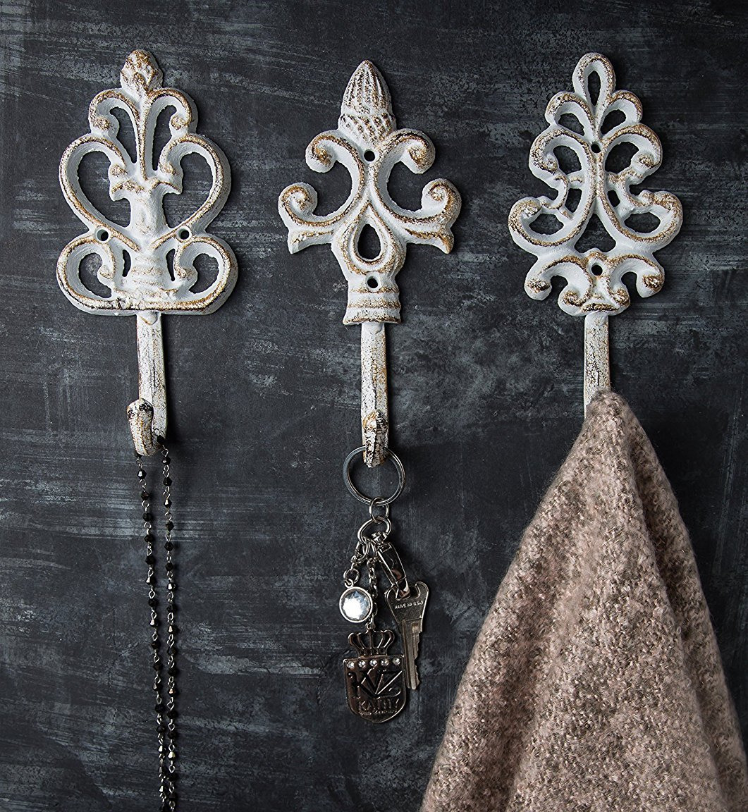 Antique Chic Cast Iron Decorative Wall Hooks Rustic Shabby French Country Charm Large