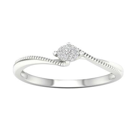 IGI Certified Imperial 1/20Ct TDW Diamond 10k White Gold Cluster Bypass Promise Ring (H-I, I2) ()