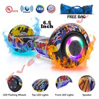 "UL 2272 Certified 6.5"" Hoverboard Bluetooth Speaker LED 2 Wheel Smart Electric Self Balancing Scooter Graffiti Free Bag (WHEELS-UC6.5-GRAFFITI)"