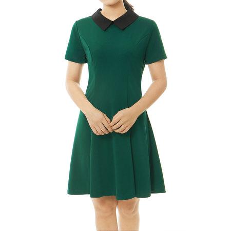 Contrast Sleeve Dress (Women Contrast Doll Collar Short Sleeves Flare Dress Green)