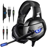 ONIKUMA Gaming Headset - Gaming Headphone for Xbox One, PS4, PC, Stereo USB Headset with Noise Cancelling Mic and LED Light, Over Ear Headphones for Mac and Nintendo Switch Games