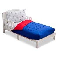 Delta Children Reversible Boys Toddler 4 Piece Bedding Set (Fitted Sheet, Flat Top Sheet w/ Elastic bottom, Fitted Comforter w/ Elastic bottom, Standard Pillowcase) Boys American | Red, White & Blue