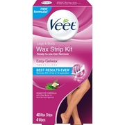 Veet Ready-To-Use Sensitive Formula Wax Strip Kit Hair Remover 40 count box