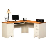 Sauder Harbor View Corner Computer Desk, Antiqued White Finish