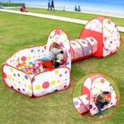 31cfc1fd938e 3 in 1 Ball Pit Tent Kids Indoor Outdoor Play Tent with Crawl Tunnel