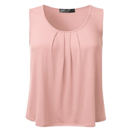 Ivory Flutter Sleeve Top - Doublju Women's Basic Soft Pleated Scoop Neck Sleeveless Loose Fit Tank Top BABYPINK S