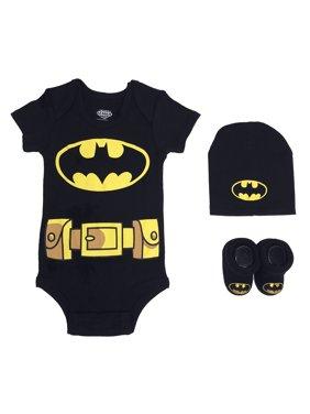 Batman Short Sleeve Bodysuit, Booties & Cap, 3-piece Layette Gift Set (Newborn Baby Boys)