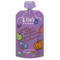 Ella's Kitchen 6+ Months Organic Baby Food, Apples Sweet Potatoes Pumpkin + Blueberries, 3.5 oz. (Pack of 6)