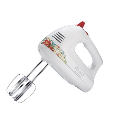 The Pioneer Woman 6-Speed Hand Mixer with Vintage Floral and Snap-On Case, White