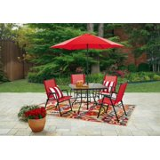 Mainstays Lakewood Heights 6-Piece Folding Set, Red
