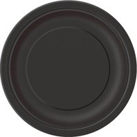 (3 Pack) Paper Plates, 7 in, Black, 24ct