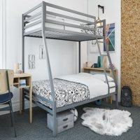 Mainstays Premium Twin over Full Metal Bunk Bed and Mattress, Multiple Colors