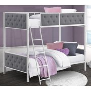 Chesterfield Upholstered Twin Over Twin Metal Bunk Bed, White Metal with Grey Linen