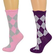 c6f7a6df601 Sierra Socks Cotton Lurex Sparkle Crew Argyle Casual Women s 2 Pair Pack  Socks (Fits Shoe