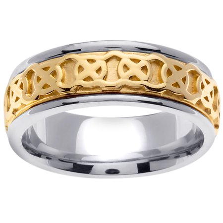 14K Two Tone Gold Four Squares Celtic Comfort Fit Women's Wedding Band (7.5mm)
