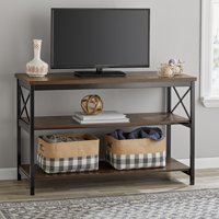 "Mainstays 3-Shelf TV Console Table for Most TVs up to 42"", Sawcut Brown"