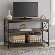 """Mainstays 3-Shelf TV Console Table for Most TVs up to 42"""", Sawcut Brown"""