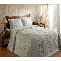 ASHTON CHENILLE BEDSPREAD AND PILLOW SHAM SET, ALL COTTON, KING SIZE, SAGE GREEN