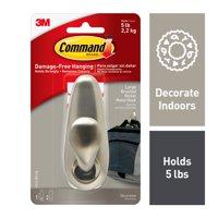 Command Adhesive Mount Metal Hook, Large, Brushed Nickel Finish, 1 Hook & 2 Strips/Pack