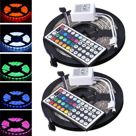 - CASUNG Led Strip Lighting 2*5M 32.8 Ft 5050 RGB 300LEDs Flexible Color Changing Lights IP65 Water Resistant LED Strip Light Kit with Remote Controller & White IR Controll Box & Power Supply