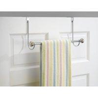 InterDesign York Over Shower Door Towel Rack Bar for Bathroom, Chrome/Stainless