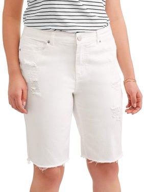 Women's Plus Distressed Raw Hem Bermuda Shorts