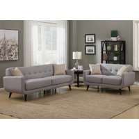 Crystal Collection Upholstered Mid-Century 2-Piece Living Room Set with Tufted Sofa and Loveseat and 4 Accent Pillows, Gray