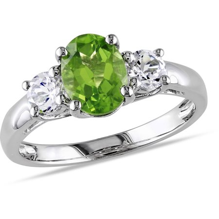 1-7/8 Carat T.G.W. Oval and Round-Cut Peridot and Created White Sapphire Sterling Silver 3-Stone Ring