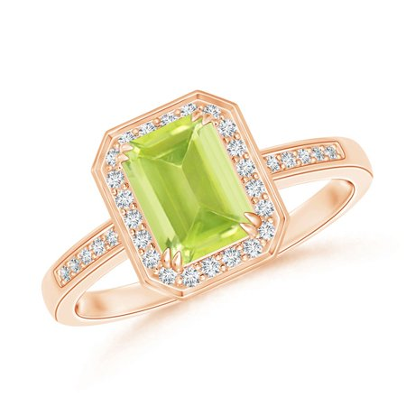 August Birthstone Ring - Emerald-Cut Peridot Engagement Ring with Diamond Halo in 14K Rose Gold (7x5mm Peridot) - SR0683PD-RG-A-7x5-7