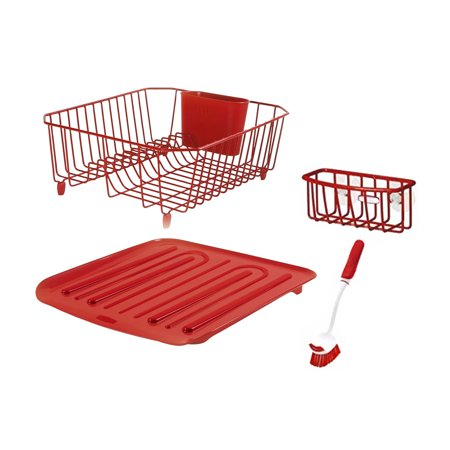 Rubbermaid Antimicrobial Sink Dish Rack Drainer Set, Red, 4-Piece