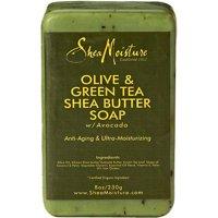 SheaMoisture Olive & Green Tea Shea Butter Soap, Anti Aging & Ultra Moisturizing, 8 oz